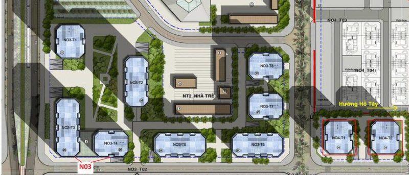 Vị trí các tòa chung cư thuộc tổ hợp N03