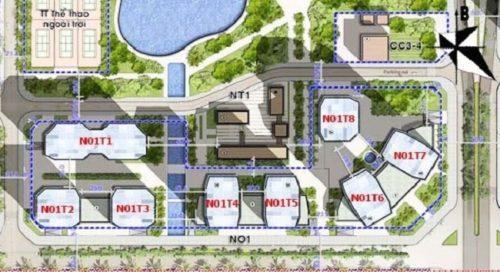 Vị trí các tòa chung cư thuộc tổ hợp N01