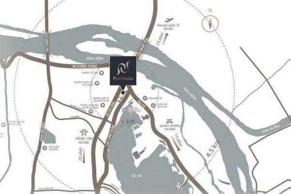Location of PentStudio West Lake Hanoi