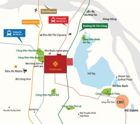 Location of Starlake Tay Ho Tay Villa